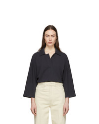 Lemaire Black Three Quarter Sleeve Polo