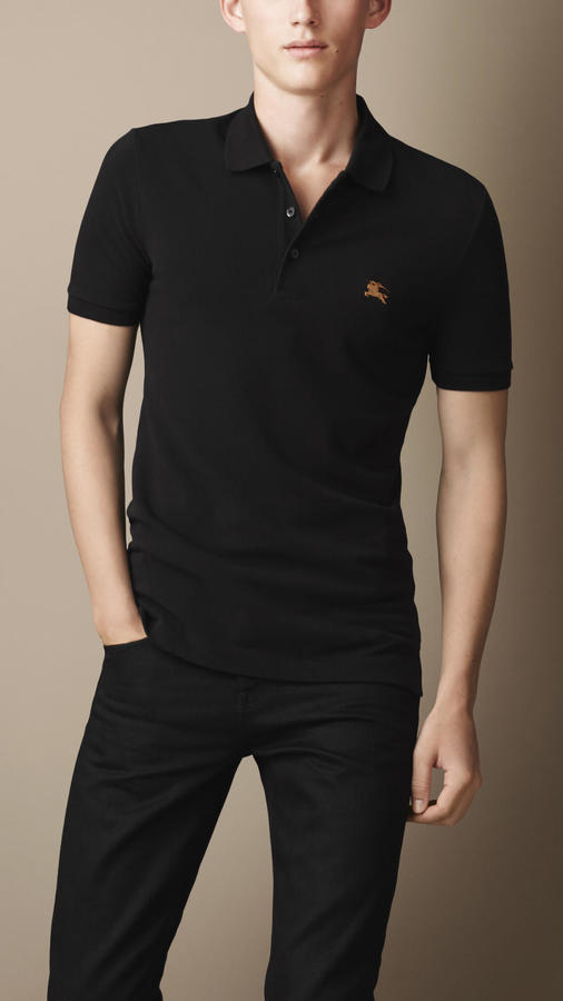 0e623f12b1947 ... Black Polos Burberry Brit Cotton Jersey Double Dyed Polo Shirt ...