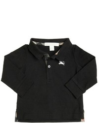 Burberry Cotton Jersey Long Sleeve Polo Shirt