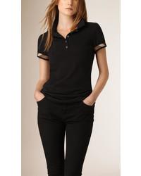 Burberry Check Detail Cotton Piqu Polo Shirt