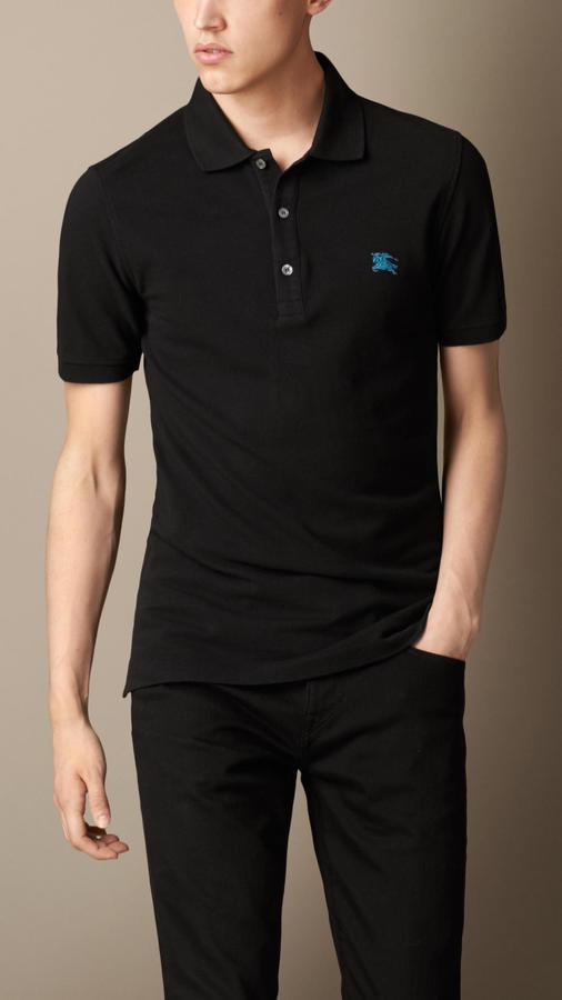 d3029390e21e0 ... Black Polos Burberry Cotton Jersey Polo Shirt ...
