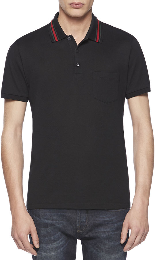 56e0afee6a9af3 ... Gucci Cotton Jersey Polo Tee Black ...