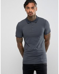Asos Extreme Muscle Polo In Jersey In Washed Black