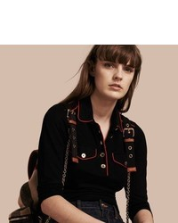 Burberry Fitted Polo Shirt With Regital Piping