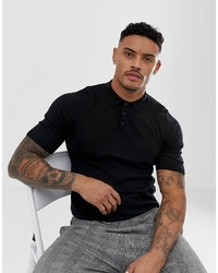 ASOS DESIGN Knitted Muscle Fit Polo T Shirt In Black