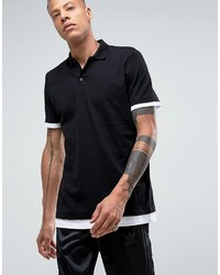 a07aab2bbcd Asos Longline Polo Shirt With Contrast Cuff And Hem Extender In Blackwhite