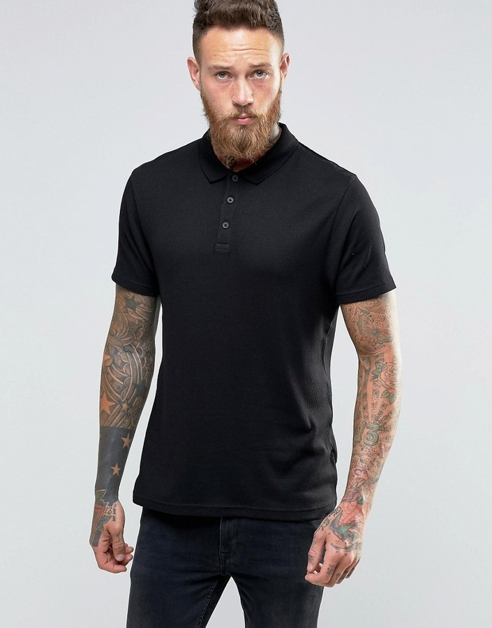 575b3fdb Asos Muscle Fit Ribbed Polo Shirt With Roll Sleeve In Black, $22 ...