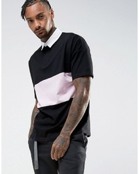 Asos Oversized Rugby Polo Shirt With Contrast Panel In Black