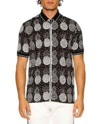Dolce & Gabbana Pineapple Full Zip Polo Shirt Blackwhite