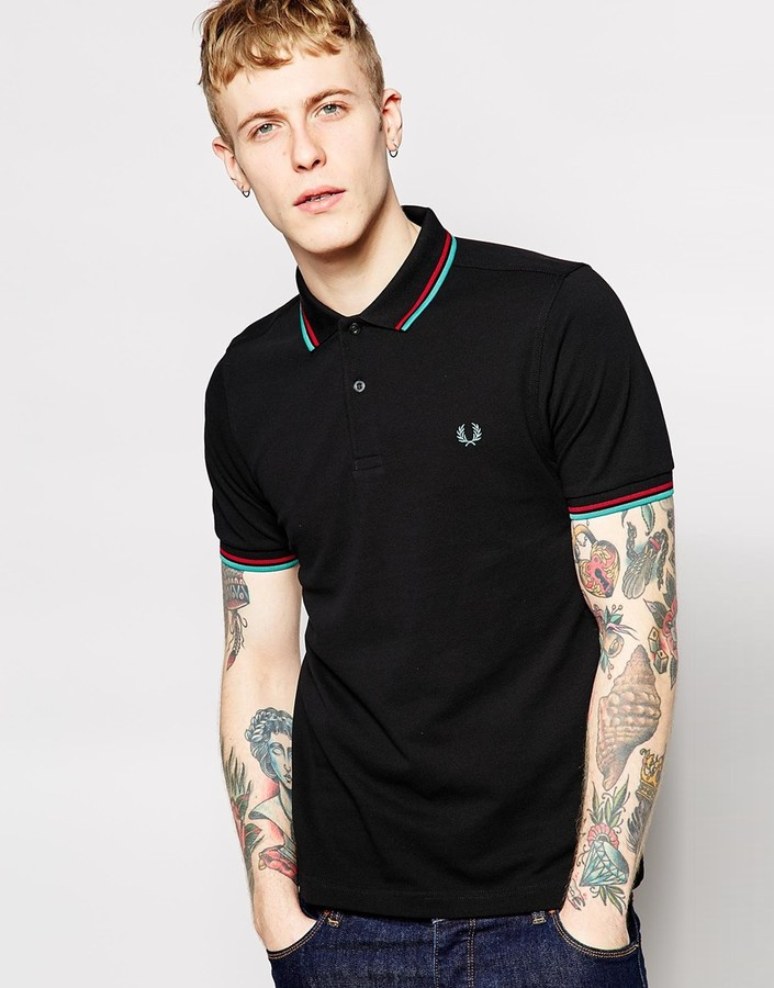 discount sale limpid in sight search for latest $90, Fred Perry Polo Shirt With Twin Tip Slim Fit