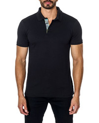 Jared Lang Short Sleeve Cotton Blend Polo Shirt Black