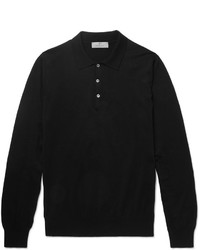 Canali Slim Fit Knitted Cotton Polo Shirt