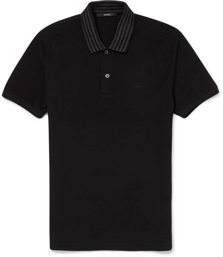 9e0ca4f4 Gucci Striped Collar Cotton Piqu Polo Shirt, $440 | MR PORTER ...