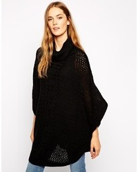 Vila Cable Detail Poncho Black
