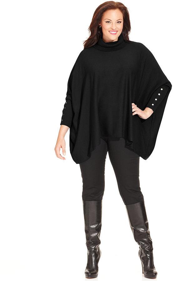 alfani plus size long sleeve poncho turtleneck sweater | where to