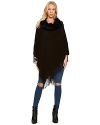 Steve Madden Solid Rib Poncho With Faux Fur Collar Clothing