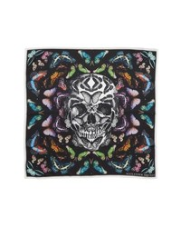 Alexander McQueen Skull Rainbow Butterflies Print Silk Bandana
