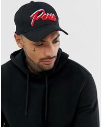 ASOS DESIGN Baseball Cap In Black With Paris Embroidery
