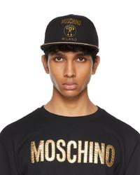 Moschino Black Gold Canvas Flat Cap