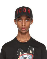 DSQUARED2 Black Red Embroidered Baseball Cap