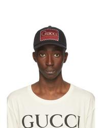 Gucci Black Whatever The Season Label Baseball Cap