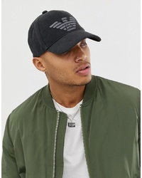 Emporio Armani Canvas Logo Baseball Cap In Black