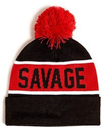 21men 21 Savage Striped Pom Pom Beanie