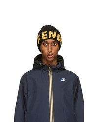 Fendi Black And Yellow Logo Beanie
