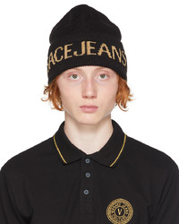VERSACE JEANS COUTURE Black Big Logo Beanie