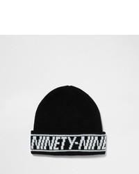 River Island Black Ninety Nine Hem Fisherman Beanie Hat