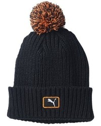 Puma Cat Patch Pom Beanie Blackvibrant Orange