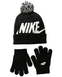 Nike Kids Swoosh Pom Beanie Gloves Set Beanies