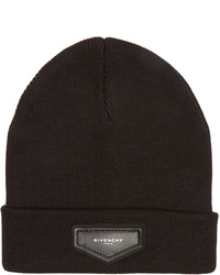Givenchy Logo Patch Wool Blend Beanie Hat