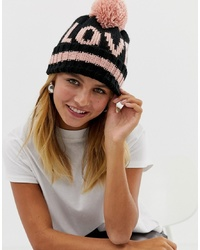 New Look Love Slogan Bobble Hat In Black Pattern