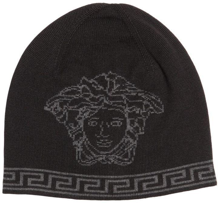... Versace Medusa Intarsia Wool Silk Knit Beanie