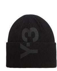 Y-3 Ribbed Knit Logo Beanie