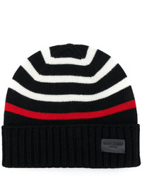 Saint Laurent Striped Knitted Beanie