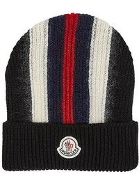 Moncler Striped Rib Knit Wool Blend Beanie