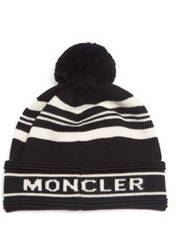 Moncler Striped Wool Pompom Beanie Hat