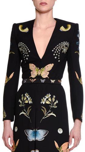 Alexander McQueen Butterfly Print Skinny Belt Black
