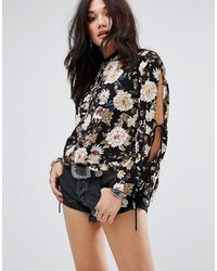 Glamorous Long Sleeve Floral Print Top With Tie Arm Detail