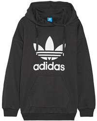 adidas Originals Printed French Cotton Blend Terry Hooded Top Black