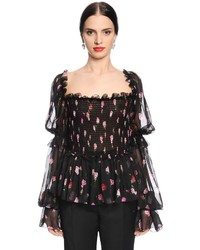 Dolce & Gabbana Roses Printed Voile Blouse