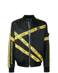 Philipp Plein Caution Tape Bomber Jacket