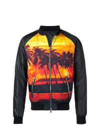 Balmain Palm Tree Print Bomber Jacket