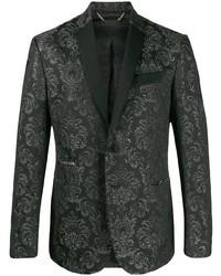 Black Print Brocade Blazer