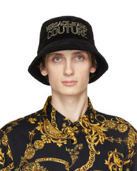 VERSACE JEANS COUTURE Black Velvet Logo Bucket Hat
