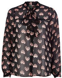 River Island Black Chelsea Girl Heart Print Blouse