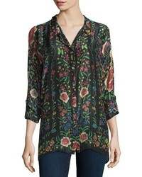 Emby button front floral print blouse blackmulti medium 804346