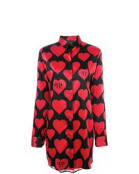 Heart print longline shirt medium 7784978